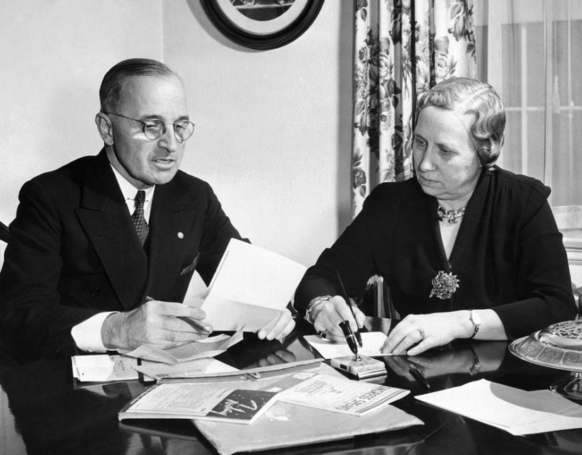 Bess Truman served as her husband's primary advisor and aide, both salaried and unsalaried. (HSTL)