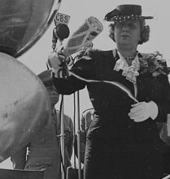 Mrs. Truman at the ceremony where she tried to christen a naval plane with a champagne bottle that had not been properly prepared. (National Archives)