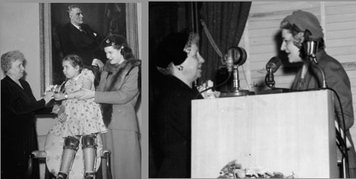 Mrs. Truman accepts an award from The Community Chest, and poses with a girl afflicted by polio for the March of Dimes (original source unknown; HSTL)
