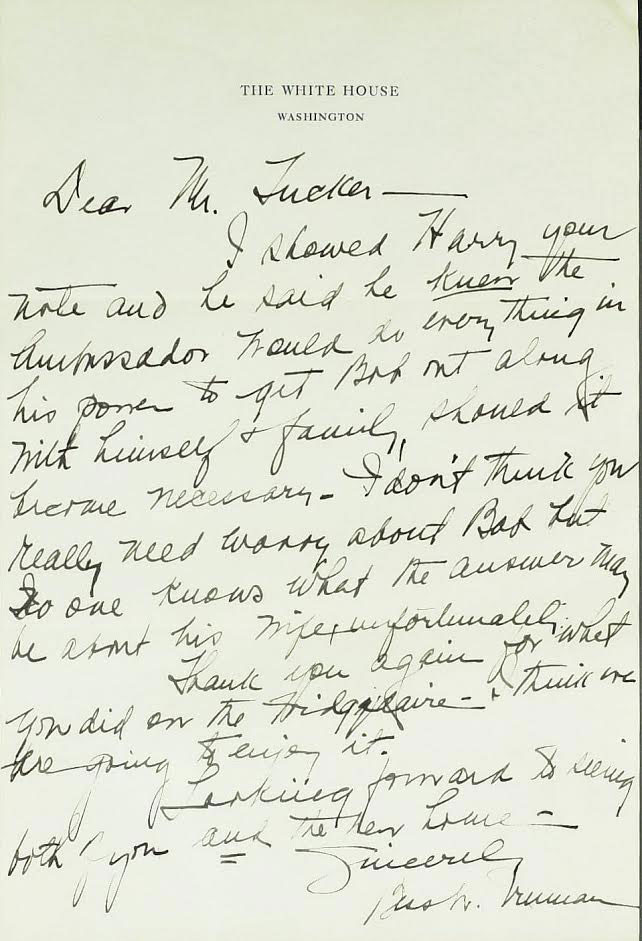 Bess Truman's letter to Charlie Tucker, illustrating her prerogative of influence. (unknown online autograph catalogue, circa 2000s)