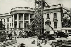 The White House during the Truman renovation. (National Archives)