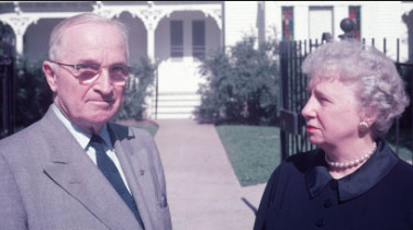 In later years, Harry and Bess Truman stand in front of her grandfather's home, where they lived their entire married life. (history.com)
