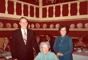 Bess Truman with friends in a local restaurant, circa late 1970s. (HSTL)