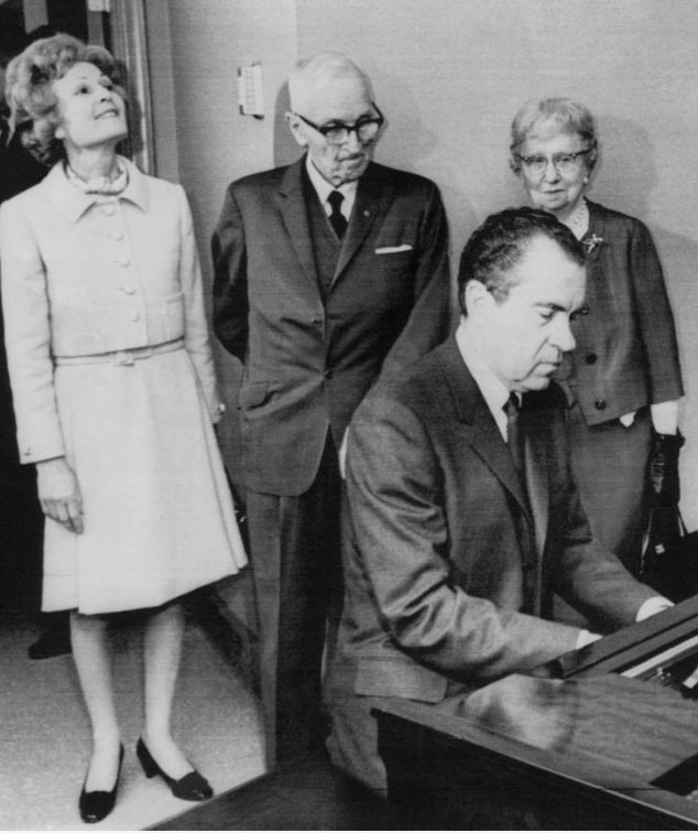 Harry and Bess Truman with Richard and Pat Nixon during the latter's 1970 visit with them. (Nixon Library)